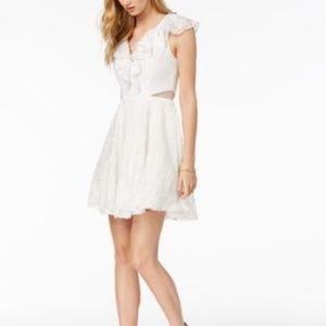XSCAPE Ruffled Lace Fit Flare Dress